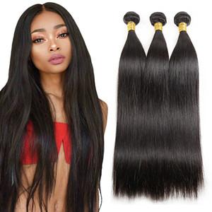 Günstige Gerade Webart Raw Indian Hair 3 Bündel / Los Rohboden Virgin Haar Bundle-Angebote Natural Black Best Hair Extensions