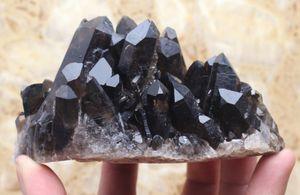 480g Clear Natural Beautiful Nero QUARTZ Crystal Cluster Spe eliminare le energie negative cluster di gemme nere Healing reki per la decorazione