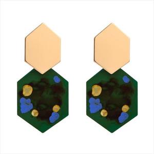 Vintage tres colores pendientes geométricos largos personalidad femenina hechos a mano pendientes de graffiti creativo moda cuelga joyas de diseño
