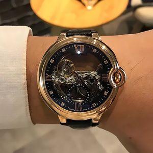 Mens Top orologi di marca di lusso famosi orologi Geneve vera pelle orologio meccanico automatico da polso delle donne Hollow orologi C22