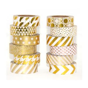 High quality Gold foil 10m paper tape dot,strip,pineapple,heart Christmas decorative washi tape 1pcs 2016