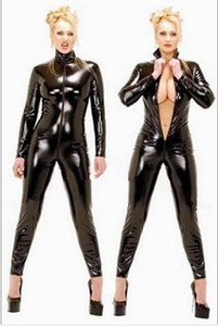 Costumi caldi sexy nero Catwomen tuta PVC Spandex Latex Catsuit per le donne Corpo tute in pelle Fetish Dress Plus Size XS-5XL