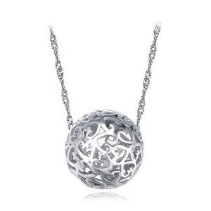 circulation routière creuse en argent rond à travers les perles percées exquise boule pendentif support fournitures collier pendentif