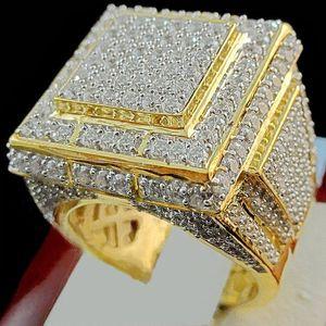 Bamos lujo masculino anillo de piedra de circón completo 18KT oro amarillo lleno joyería Vintage boda anillos de compromiso para hombres