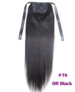 """포니 테일 확장 변태 스트레이트 여성 100 그램 색상 # 1B 자연 블랙 100 % 레미 인간의 머리 PonyTail 확장 60 그램 16 """"40 센치 메터"""