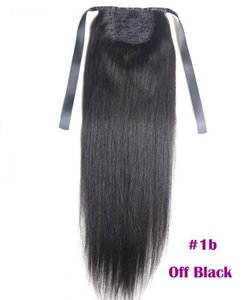 "Extensiones de cola de caballo Kinky Straight para mujeres 100g Color # 1B Negro natural 100% cabello humano Remy Extensiones de cola de caballo 60g 16 ""40cm"