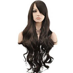 "32 ""Womens Ladies Long Curly Wavy Wig Cosplay Costume Party Costume peluca - Negro"