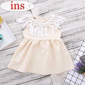 INS Bebê Meninas vestido de Verão Crianças franja gola de renda bege vestidos de Festa da menina vestido de algodão 0-5years