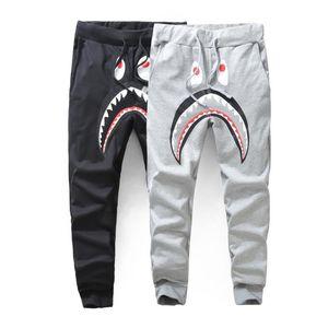 Moda para hombre Negro Gris Shark Pantalones Pantalones Harem Otoño Invierno Fleece deportiva pantalones largos del basculador Correr Sweatpant