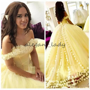 Yellow Ball Gown Quinceanera Dresses with 3D Flowers Sweet 16 Dresses Off the Shoulder Plus Size Princess Masquerade Prom Gowns Lace Up Back