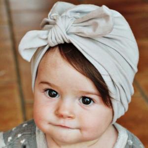 Moda Bebê Recém-nascido Criança Criança Bebê Menino Menina Turbante Bowknot de Algodão Macio Bunny Beanie Hat Cap