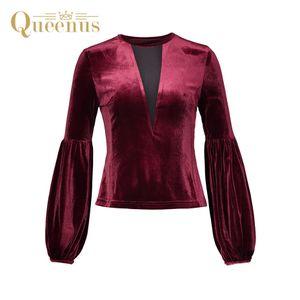 Queenus Herbst Winter Weihnachten Patchwork Pullover Frauen Blusen Laterne Hülse Elegante Burgunder Schlanke Velour Frauen Shirts