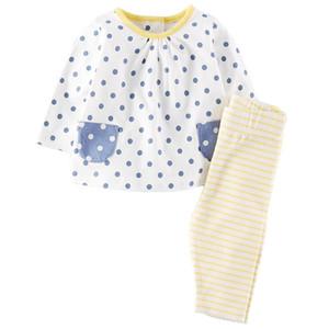 CHEGADA NOVA girs conjuntos De Crianças 100% de Algodão de Manga Comprida coelho dos desenhos animados menina conjunto causal primavera outono menina set t shirt + calça