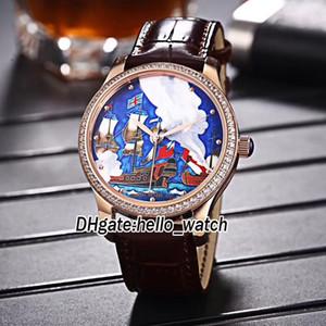 رخيصة جديدة محدودة Classico 8156-111-2 Miyota 821A التلقائية ووتش رجالي الأزرق المراكب الشراعية الهاتفي الذهب الماس الحافة جلدية الشريط الرياضة الساعات