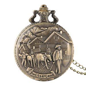 Bronze Switzerland Cow Carving Pocket Watch Unisex Retro Quartz-battery Clock Cattle Farming Drawing Pendant Birthday Present
