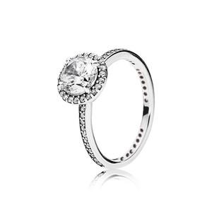 100 Real 925 de Prata Womens Anel De Casamento com caixa Original para o estilo Pandora CZ Anel de Diamante para As Mulheres do Dia Dos Namorados presente