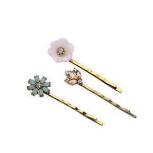 Großhandel Frauen Marke Haarschmuck Champagner Kristall Opal Blüte Hochzeit Haarspangen Bella Fiore Haar Pin Trio