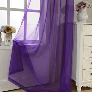 Ev Dekorasyonu Salon Yatak odası Mutfak P184z15 İçin Çevre Dostu Gökkuşağı Katı Voile Kapı Pencere Perde Dökümlülük Paneli Şeffaf Tül