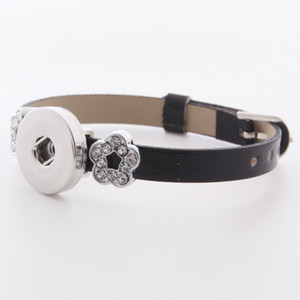 9 Colour Exquisite Plum Blossom Noosa Snap Button Smooth Leather Bracelet Fit 18mm Snap Buttons Jewelry Multilayer Snap Leather Bracelets