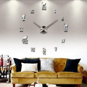 جديد ساعة ساعة حائط تزيين المنزل klok acrylic miroir كبير ملصقات الحائط بيع الكوارتز الحديثة المعادن