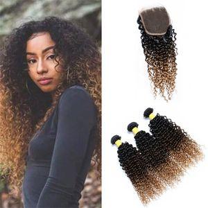 Kinkys mongol bouclés Ombre cheveux Weave Bundles avec fermeture à dentelle 1B / 4/27 Miel Blonde Ombre cheveux humains Wings avec fermeture