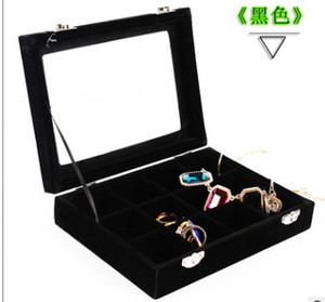 Manufacturers direct quality 12 boxes with cover nail drill box flannelette jewelry collection display box