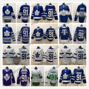 Maple Leafs de Toronto # 91 John Tavares 2017 Centennial Blue Troisième 2014 2018 White Winter Classique Arenas S'Pats Green Hockey Jersey