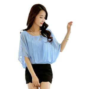 SZMXSS kadın Batwing Kollu Dantel Şifon Bluzlar Gömlek Bayanlar Casual Gevşek Artı Boyutu Giyim Seksi Bluz Gömlek Tops