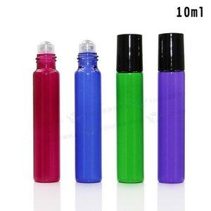 Recién llegado de tubo de extracción 10ML Botellas de aceite de rodillo de vidrio Azul Púrpura Verde Rojo 10 ml Rollo de botellas de aromaterapia Fragancia 200Pcs Precio de fábrica
