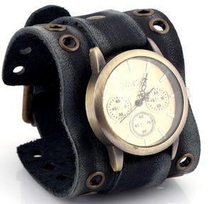 Fashion Punk Genuine Leather Cool Men Watches Vintage Quartz Student Brand Designer Retro Watch Men's gifts Wristwatch Sale