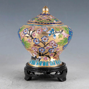 Chinese Cloisonne Hand-made Flowers&Tree Pot