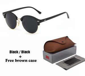 Марка ретро круглые очки женщина мужчины 2020 Новый стимпанк ВС очков Half-металлическая рама G15 UV400 объектива с коричневыми корпусами и аксессуарами