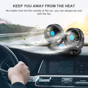 12 V / 24 V 360 Grados All-Round Ajustable Auto Auto Aire Cooling Dual Head Fan Bajo ruido Ruido Auto Cooling Air Fan Car Accessor