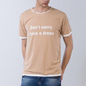 Verão Masculino T Shirt Mangas Curtas não se preocupe Eu Tenho Um sonho Impresso Engraçado Camiseta de Algodão Tee M-2XL