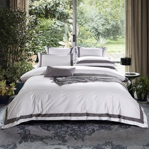 TUTUBIRD- Satin Egyptian Coon Bedding Set Solid Color Striped Plaid Duvet Cover+Flat Sheet+2 Pillowcases King Queen Size