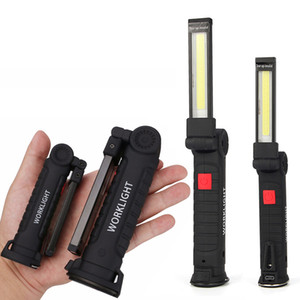 Lampada LED COB 5 modalità USB ricaricabile integrata Batteria LED con torcia magnetica portatile Torcia da campeggio esterna da lavoro