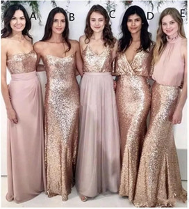 2019 Современный Blush Pink Beach Bridesmaid платья с розовым золотом блесток несоответствуют горничная честь платья женщин Формальная одежда