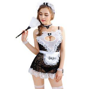Mujer sexy lencería encaje sirviente french maz trajes sexo ropa de dormir ligero ropa interior erótico servicio de criada uniforme adulto juego