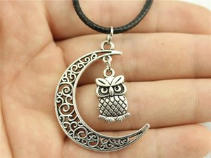 WYSIWYG 5 Pieces Leather Chain Necklaces Pendants Choker Collar Pendant Necklace Women Double Sided Owl 20x11mm N6-B11573-B11553