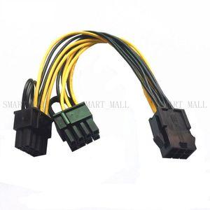 GPU 6 pin / 8pin 8 pin Kadın çift PCI-E PCI Express 8pin (6 + 2 pin) Erkek güç kablosu tel grafik kartı Için BTC Madenci 20 cm