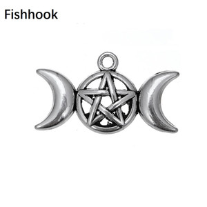 Fishhook Triple Moon Goddess Pendant Charms Fit for Necklace Bracelet Pentagram Pentacle Protection Antique Star Viking Jewelry