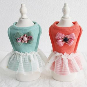 Kış Köpek Giyim Dört Ayak Pet Çift Giysileri Chiwawa Yorkie Bomei Elbise boyutlu Bow Tie Etek 18AW20