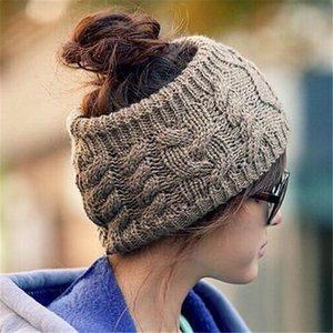 Novas Mulheres De Malha Vazia Crânio Beanie Hat Ear Inverno Quente Livre de Tricô Headband Chapéus De Lã Crochet Caps