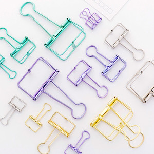 Simple Metal Hollows Long Tail Clip Colorful Foldback Clip Students Stationery DIY Hand Account Accessory Office Document Test Paper Clips