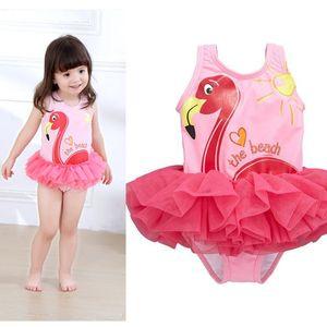 Фламинго новорожденных девочек цельный купальник 2018 летние дети бикини мультфильм дети лебедь кружева купальники C3864