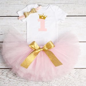 첫 번째 생일 아기 소녀 옷 세트 신생아 유아 소녀 Christening 파티 옷 입히기 어린이 정장 Romper 스커트 머리띠 세트