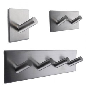 Wholesale Stainless Steel Self Adhesive Hook Rack Towel Hanger Organizer Bathroom Accessories Home Decor Art and Craft Household Supplies