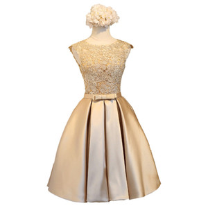 Lace Satin Ball Gown Cocktail Dress Gold Knee Length Party Dresses New Short Bridesmaid Dresses Summer