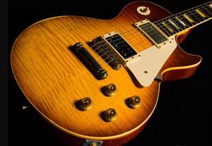 Custom Shop 1959 Led Zeppelin Jimmy Page # 7 Tom Murphy âgé de Heavey Relic Relique de guitare électrique Lignes de fissures sur la poupée Top, reliure crème
