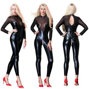 Preto PU Malha Manga Comprida Bodysuit Mulheres Plus Size XXL Zíper De Couro Magro Catsuit Sexy Body Club Feminino Bodysuits Partido